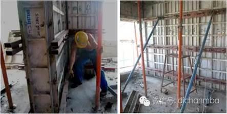 校正与加固 水平度校核 墙柱模板加固必须在板面平整度校核完成后才可